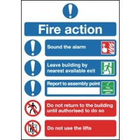 Instructional Fire Action Symbolised Signs