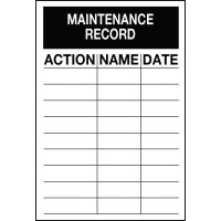 Inspection Record Label: Maintainance Record For Fire Equipment