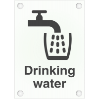"Frosted Acrylic ""Drinking Water"" Washroom Sign"