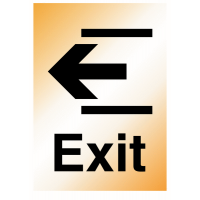 Durable 'Exit' arrow left metal-look sign