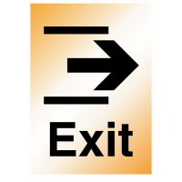 Metal Look Plastic Right Arrow Exit Signs