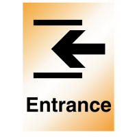 Strong and durable 'Entrance' arrow left metal-look sign