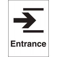 Rigid plastic 'Entrance' arrow right metal-look sign