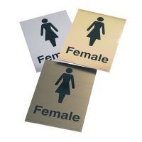 Faux metallic female restroom signs