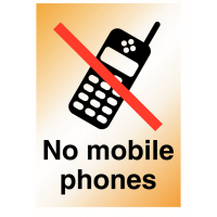 Rigid and strong 'no mobile phones' metal-look sign