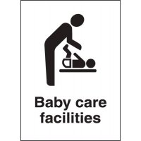 Plastic 'baby care facilities' metal-look sign