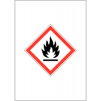 GHS and COSHH-compliant flammable symbol signs
