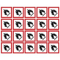 Self-Adhesive Sheet of GHS Flammable Symbols