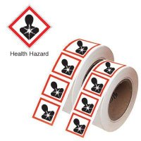 "250 Strong & Highly Resistant GHS ""Health Hazard"" Symbols On-a-Roll"