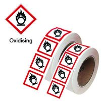 Laminated Polyester Oxidising GHS Warnings - Roll of 250