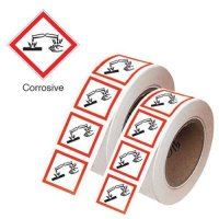 UV-resistant stickers on-a-roll with GHS symbol