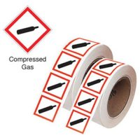 Easy-peel GHS symbol stickers on-a-roll for compliance and safety