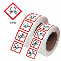 Easy to Apply Toxic GHS Warning Symbol Labels On-a-Roll