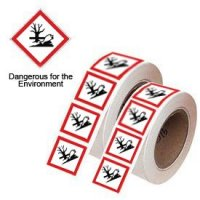 Self-adhesive polyester 'dangerous for the environment' symbol labels