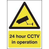 "Freestanding Polycarbonate Tabletop Signs - Displaying ""24 Hour CCTV"" Warning Message"
