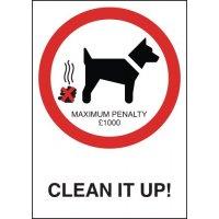 £1,000 fine dog fouling warning sign
