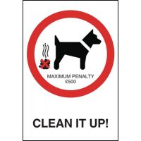 Eye-catching 'Clean it up!' dog fouling sign