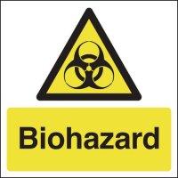 Bold, self-adhesive biohazard signs