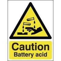 'Caution Battery Acid' Signs