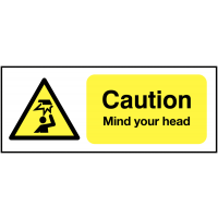 'Caution mind your head' health and safety sign
