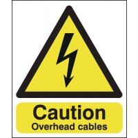 Safety Compliant Caution Overhead Cables Signs