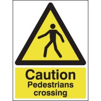 Clear 'Caution Pedestrians Crossing' Signs