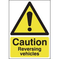 Rigid Plastic 'Caution – Vehicles Reversing' Sign with Satin Finish