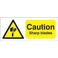 Re-positionable 'Caution Sharp Blades' Magnetic Sign for Indoor and Outdoor Use
