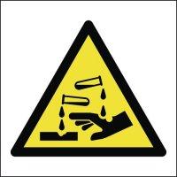 Corrosive symbol warning signs