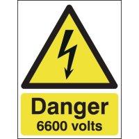 Self-adhesive 'Danger: 6600 volts' signs
