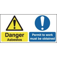 Permit to Work Must be Obtained' Asbestos Warning Double Sign