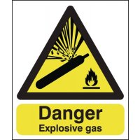 Yellow and black 'Danger Explosive Gas' warning sign