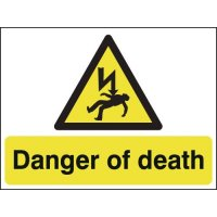 Hazard signs warning of potential for fatality
