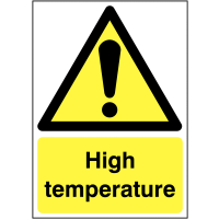 Bold black and yellow high temperature warning signs