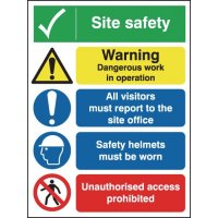 Rigid polypropylene A3 multi-message site safety sign