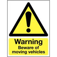'Warning Beware of Moving Vehicles' Outdoor Aluminium Sign