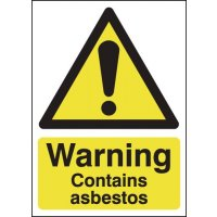 Warning Contains Asbestos Lightweight Self-Adhesive Signs