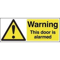 Plastic And Vinyl 'Warning This Door Is Alarmed' Sign