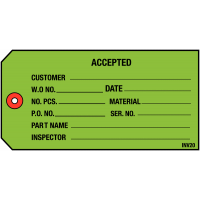 Inventory Tags For Accepted Parts