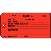 Inventory Tags For Rejected Parts