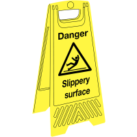 Portable 'danger - slippery surface' highly visible warning signs