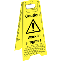 Bright, convenient 'caution: work in progress' informative floor stands