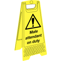 'Male attendant on duty' plastic floor-standing sign