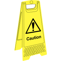 Cost-effective portable floor-standing caution signage