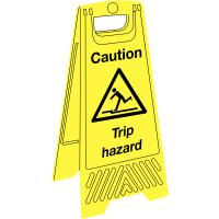 Highly-visible plastic 'trip hazard' floor-standing sign