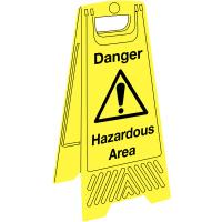 Highly visible, portable 'danger hazardous areas' warning sign