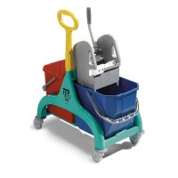 Double Bucket Cleaning Trolley with Mop Wringer