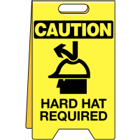 Durable 'Hard Hat Required' Temporary Floor Sign