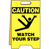 Foldable slippery floor caution sign
