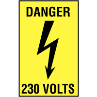 Plastic Danger 230 Volts Self-Adhesive Safety Labels